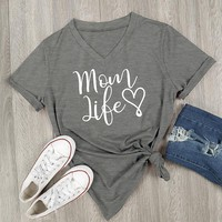 2017 Summer Casual T shirt Female Tee Loose Tops Fashion Women T-Shirts Mom Life Letter Printed V-Neck Short Sleeve Tops 967934