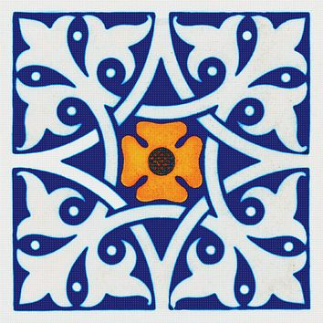 Arts and Crafts Fleur de Lis Design in Blue White and Gold Orenco Originals Counted Cross Stitch Pattern