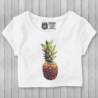 Pineapple Crop Top - Pineapple Shirt - Graphic Crop Tops - Soft Feel T Shirt - Colorful Crop Top - Tropical - White Crop Top