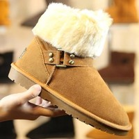 Fashion Online Ugg Women Fashion Snow Boots Calfskin Shoes