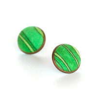 Summer Green Lake Earring Studs - Stud Earrings - Green and Black Stripes Fabric Buttons Jewelry - Fresh Earring Posts