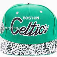 Boston Celtics White Leopard Cheetah Print Strapback SnapBack Hat