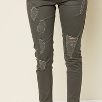 Distressed Olive Cargo Pants