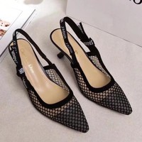 Dior Women Casual Fashion Mesh Pointed Toe Heels Shoes