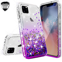 Apple iPhone 11 Pro Max Case Liquid Glitter Phone Case Waterfall Floating Quicksand Bling Sparkle Cute Protective Girls Women Cover for iPhone 11 Pro Max W/Temper Glass - Purple