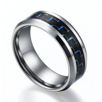 High Polished Tungsten Ring with Blue & Black Carbon Fiber Inlay