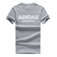 ADIDAS 2018 summer new men's round neck breathable sports short-sleeved T-shirt Grey