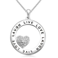 """Sterling Silver Diamond Heart In Circle Pendant Necklace with """"LOVE LAUGH LIVE"""" Inscription (0.02 cttw) 18"""""""