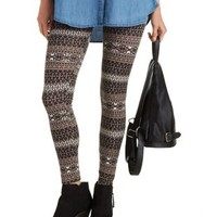 Taupe Combo Diamond Aztec Legging by Charlotte Russe