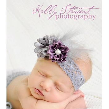 Grey & Lilac Flower Cluster Elastic Headband with Feathers