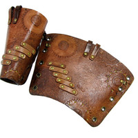 Steampunk Cuffs, bracers unisex, hard leather