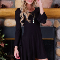 Matilda Bell Sleeve Dress - Black