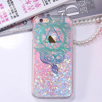 Colorful Floral Paisley Flower Mandala Clear Case For iphone 6 6S / Plus Cover Dynamic Liquid Glitter Sand Quicksand
