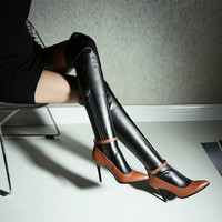2016 New Fashion Winter women Over The knee high boots Long boots Patch Color Ultra thin thigh high woman genuine leather boots