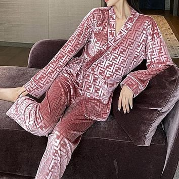 FENDI gold velvet pajamas long-sleeved suit trendy letter loose cardigan can go out home service two-piece suit