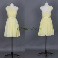 short one shoulder chiffon folded bridesmaid dresses unique simple prom gowns with satin sash hot discount dress for wedding party