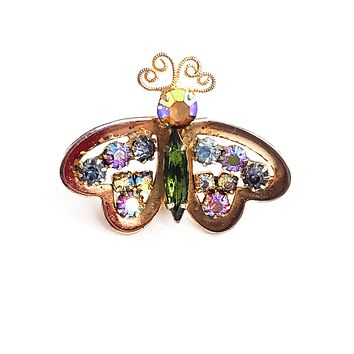 Rainbow butterfly heart aurora borealis vintage gold toned butterfly brooch pin