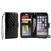 iPhone 6 Glossy Quilted Wallet Case with Strap (Black)