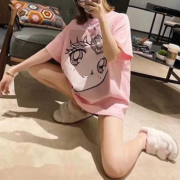 Women Pink Casual Cute Cartoon Character Sailor Moon Short Sleeve T-shirt Tops Tee