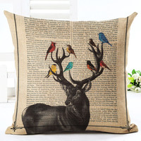 MYJ Online Store Throw Pillow Cushion Home Decor Couch Newspaper Reindeer Printed Linen Cuscino Square print your name