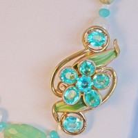 Aqua Vintage Upcycled pendant with White Freshwater Coin Pearls