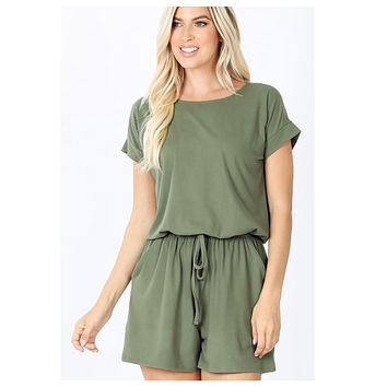 Cozy Brushed DTY Lt. Olive Romper with Pockets