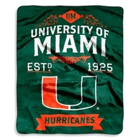 University of Miami Raschel Throw Blanket