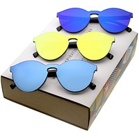 Retro Modern Monoblock Horned Rim Mirrored Flat Lens Sunglasses C123 [Promo Box]