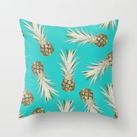 Pineapple Jam Turquoise Throw Pillow by Lisa Argyropoulos