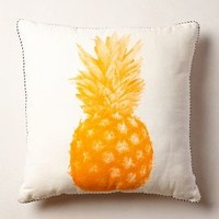 Pineapple Print Pillow by Bonnie and Neil Yellow 20 In. Square Wall Decor