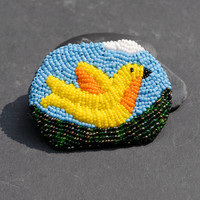 Blue skies brooch - bead embroidered yellow bird pin