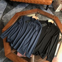 """""""Versace""""Men All-match Personality Casual Buttons Commercial Lapel Solid Color Leisure Long Sleeve Polo Shirt Tops"""