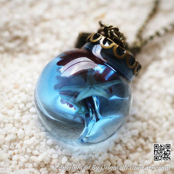 Bridesmaid Gift Necklace Blue Ocean Pendant (HM0073)