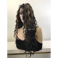 Long Wavy Auburn Black Human Hair Blend Multi Parting Lace Front Wig -  Karmen