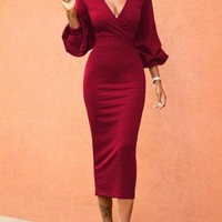 Red Plain V-neck Lantern Sleeve Fashion Maxi Dress