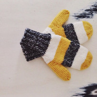 Striped knitted mittens, wool mittens, yellow mittens, gray mittens, white mittens, multicolor knit mittens, extra warm mittens