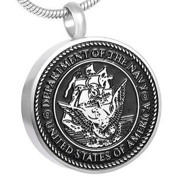 "Cremation ""US Navy"" Urn Necklace"