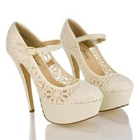 Realove07 Beige Almond Toe Lace Mary Jane Platform Stiletto Heel Dress Sandals-7.5