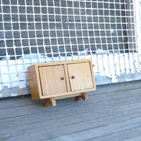 Midcentury Modern Dollhouse Cabinet; Atomic Miniature Wood Cabinet w/ Doors; Footed Doll Cabinet; Flawed