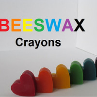 6 Beeswax Crayon Soy Free -  ROYGBV Colors Eco Friendly - Nibble Safe Child Education