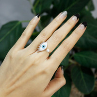 Evil Eye Adjustable Wrap Ring with CZ crystal and Pearl in 2 Colors, R0267S