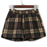 Yellow Plaid Elastic Waist Woolen Shorts