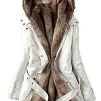 CHAREX Warm Hooded Faux Fur Ling Winter Coat Long Jacket Parka Women 2XL Beige
