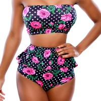 Pink Queen® Women's High Waist Criss Cross Vintage Bikini Set