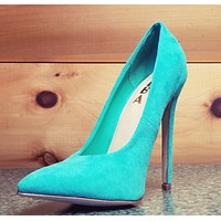 "Alba Ricky Mint Micro Suede Pointy Toe Pump Shoe 4.5"" Stiletto High Heels"