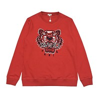 Kenzo Fashion New Embroidery Tiger Letter Women Men Long Sleeve Top Sweater Red