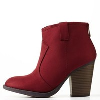 Wine Chunky Heel Ankle Booties by Charlotte Russe