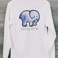 2016 Autumn Winter New Women Long Sleeve Cute Elephant Pattern Sweatshirt Ivory Ella Letters Printed Pocket Pullover Tops = 5709346689
