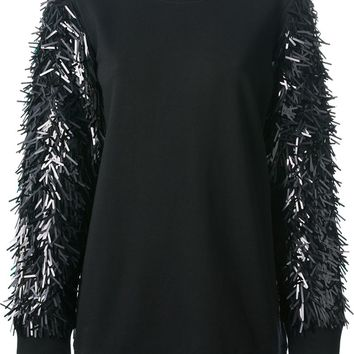 DKNY sequins embroidered sleeves sweater