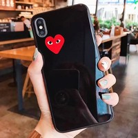Play New fashion love heart print couple protective cover phone case